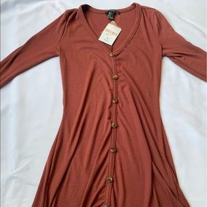 Brown/ maroon button up long sleeve dress